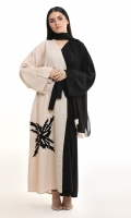 It comes with a matching black Hijab  It comes with a belt to stylise as per your preference  Straight Graceful sleeves  A beautiful designing black velvet Patch on the front  White outline on the black Patch borders to enhance the pattern  Front open abaya style
