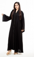 Made with High-Quality Nidha Fabric especially for summers Bell Sleeves with simple black borders  Simple black borders on the front with button-down Style Front Open Abaya  It comes with a complimentary hijab