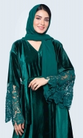 Comes with a matching hijab with lace on the border. Beautiful bell sleeves attached with heavy lacework. Front open style