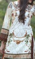 03 pcs unstitched embroidered Lawn with Chiffon dupatta