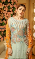 Shirt: - Luxury and Fancy Embroidered Pure Chiffon Dupatta / Shawl: - Fancy Embroidered Pure Chiffon Dupatta Trouser : - Dyed