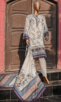 Printed Embroidered pima lawn shirt 3.0M. Embroidered border 1.0M. Embroidered Lace 1.0M. Printed pima lawn dupatta 2.5M. Dyed Trouser 2.5M