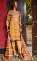 Printed embroidered pima lawn shirt 3.0M. Printed pima lawn dupata 2.5M. Dyed Trouser 2.5M.