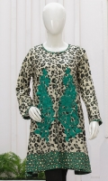 Round neck embellished front open kittel. Elegant embroidered panels. Full sleeves. Short length.