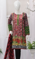 Stylish boat neck camise. Embroidered placket. Full sleeves with embroidered cuff. Chiffon dupatta. Smart length