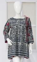 Stylish embroidered kittel Gathers on yoke Boat neck Three quarter sleeves Embellished with stud and dori Modern length