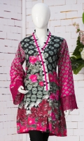 V-shaped neckline Overlapped front Full sleeves with embroidered cuff Short length