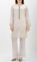 Full white embroidered shirt Placket finished with tilla, pearls & crystals Tissue on cuffs & daaman