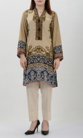 Printed silk shirt with sequins on neck Placket finished with tassels Printed back and sleeves