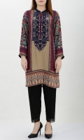 Printed silk shirt with embellishment Placket decorated with crystals, beads and dapka Printed back and sleeves