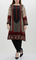 Embellished neckline with sequin finishing Round neck and full sleeves