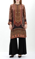 Printed silk shirt Embroidered neckline with crystals on placket Printed back and sleeves