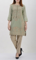 Olive green net with tilla embroidery Placket decorated with dapka, pearls & crystals Pleated cuffs Plain back