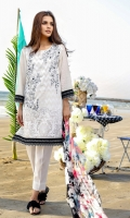 2 Piece Dress (Shirt + Dupatta) Printed shirt with embroidered front Placket finished with buttons Fabric (shirt): Lawn Fabric (dupatta): Chiffon