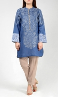 Blue shirt with embroidered cuffs Placket finished with beads, sequins & crystals