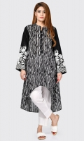 Printed shirt with pearls and sequins on placket Full embroidered sleeves with sequins