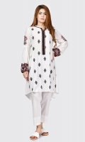 Shirt with embroidered front Embroidered placket finished with buttons Full sleeves with gathers and elasticizes cuffs