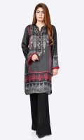 Printed shirt with embellished placket (sequins, stones, crystals) Full sleeves with fringe on cuffs