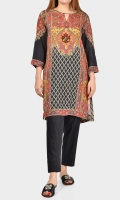 Printed shirt with embellished placket (crystals & stones) Full sleeves