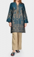 Shirt with full embroidered front Placket embellished with metallic buttons and stones Full embroidered sleeves