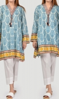 Printed shirt with embroidered neckline Drawstring and tassel on neck Full sleeves