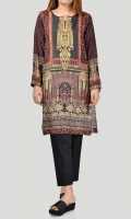Printed shirt with embroidered neckline Embroidery finished with sequins and beads Full sleeves