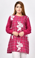 Shirt with full embroidered front Embroidery finished with sequins Full sleeves with gathers