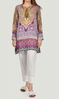 Printed shirt with drawstring tassels on neckline Full sleeves