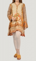 Printed shirt with crystals on neckline Embroidered chiffon sleeves