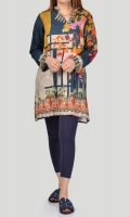 Printed shirt with buttons on neckline Full sleeves