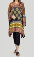 Printed shirt with embroidered neckline and drawstring Full sleeves with gathers and embroidered cuffs