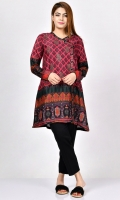 Printed shirt with embroidered front Embroidered neckline with stones Full sleeves