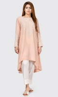 Shimmer cutline shirt with embroidered neckline Full sleeves with embroidery