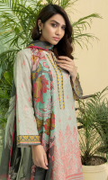 1 Piece Embroidered Lawn Front 1 Piece Embroidered Sleeves 1 Piece Printed Back Printed Chiffon Dupatta (2.5 Meter)