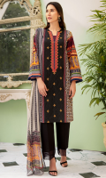 1 Piece Embroidered Front Lawn Panel 1 Piece Neckline Motif Patch on Organza 1 Piece Printed Sleeves 1 Piece Printed Back Printed Chiffon Dupatta (2.5 Meter)