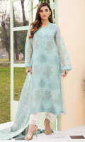 1 Piece Embroidered Front 1 Piece Embroidered Sleeves 1 Piece Embroidered Back 1 Piece Silk Dupatta