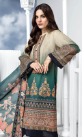 Printed Lawn Shirt Fabric 1 Piece Embroidered Sleeves Patch on Organza Printed Silk Dupatta (2.5 Meter)
