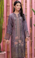 1 Piece Front Embroidered Center Panel 1 Piece Embroidered Side Panel 1 Piece Front Border on Thai Silk 1 Piece Sleeves Border on Organza 1 Piece Embroidered Sleeves on Thai Silk 1 Piece Plain Back