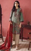 Printed Winter Cotton Shirt Fabric Printed Cotton Net Dupatta (2.5 Meter)