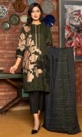 Printed Slub Khaddar Shirt Fabric (Gold Pasting) Printed Poly Wool Shawl (2.5 Meter)