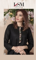 Dobby kurta with embroidered neckline placket.