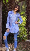 DIGITAL PRINTED SHIRT WITH PEARL EMBELLISHMENTS SHIRT COLLOR NECK CUFF SLEEVES ROUND HEIM EMBELLISHED WITH PEARLS