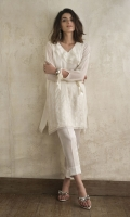 CHIFFON EMBROIDERED SHIRT FRILL ON NECKLINE STYLIZED SLEEVES STRAIGHT HEIM