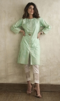 CHICKENKARI LAWN SHIRT STRAIGHT HEIM BOAT NECK STRAIGHT SLEEVES WITH LACE EMBELLISHMENT BUTTONS ON NECKLINE
