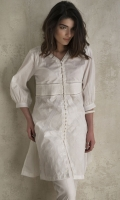CHICKENKARI LAWN SHIRT STRAIGHT HEIM V-NECK STRAIGHT SLEEVES WITH CUFF BUTTONS ON NECKLINE