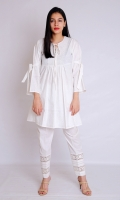 WHITE PASTE STYLIZED FROCK ROUND NECK WITH SLIT EMBELLISHED LACE  STYLIZED SLEEVES