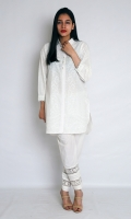 WHITE PASTE STRAIGHT OPEN CUT SHIRT COLLAR NECK FULL LENGTH CUFF SLEEVES EMBELLISHED WITH LACE AND PEARL