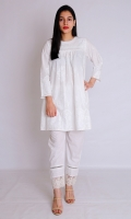 WHITE PASTE STRAIGHT SHIRT BOAT NECK FULL LENGTH SLEEVES EMBELLISHED WITH LACES