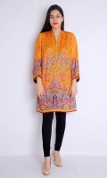 PRINTED FRONT BACK FULL LENGTH SLEEVES EMBROIDERED NECK AND SLEEVES STRAIGHT HEIM
