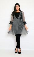 CHIFFON EMBROIDERED TOP WITH LINING STRAIGHT SLEEVES FROK STYLE V-SHAPED NECK